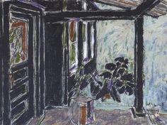 Black porch, Big Moose Lake, Adirondacks, NY - David Brown Milne 1926 Canadian Oil on Canvas 12 x 16 in. x cm. David Milne, Adirondacks Ny, Canadian Art, Oil On Canvas, Illustration Art, Moose, Artwork, Porch, Paintings