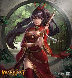 AOECard-Mulan by redpencilart on DeviantArt Fantasy Art Women, Fantasy Girl, Anime Fantasy, Fantasy Samurai, Medieval Fantasy, Red Pencil, Pencil Art, Comic Art Girls, Empire