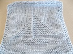 Hand Knit Blue Sailboat Baby Wash Cloth by DelsYarnBasket on Etsy
