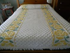 Yellow Floral Chenille bedspread