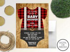 Lumberjack Baby Shower Invitation  Buffalo by GreatOwlCreations