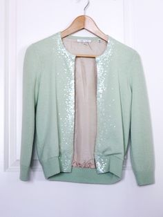 Copious: 100% Cashmere Mint + Sequined Vince Cardigan $58