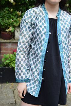 Indian silk/cotton blouse/jacket by Anokhi for East  This beautiful piece is made from hand printed Indian cotton and silk mix fabric in green, off white and blue. Cn be worn as a blouse or lightweight jacket.  Size 10 on label. Approx Size: s could fit: UK/AU 8 or 10 USA 4/8 (Please See Measurements)  Details ❀❀❀ Measurements Of Outside Of Jacket, Taken With The Garment Laid Flat & Measured Side To Side (double the figures for full body measurement) Bust, pit to pit, ...