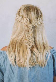 Half Up Half Down Fishtail Braids Hairstyle Inspiration #weddinghair #fishtailbraids #fishtails #bridalhair #halfuphalfdown #hairstyles