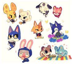 Animal Crossing Fan Art, Animal Crossing Memes, Animal Crossing Characters, Animal Crossing Villagers, Character Drawing, Character Illustration, Character Design, Chibi Characters, Pokemon Fan Art