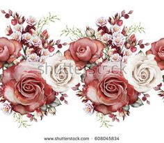 isolated Seamless pattern border with red flowers, leaves. vintage watercolor floral pattern with leaf and rose, herbs. Pastel color.Seamless floral rim, band for cards, wedding or fabric.
