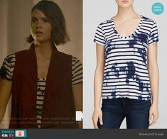 Malia's striped and splatter print tee on Teen Wolf.  Outfit Details: https://wornontv.net/55479/ #TeenWolf