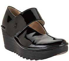 FLY London Leather Mary Jane Wedges - Yan