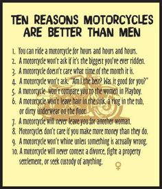 10 reasons to own a motorcycle Biker Chick, Biker Girl, Lady Biker, Motorcycle Humor, Motorcycle Tips, Women Motorcycle, Biker Love, Bike Quotes, Dirtbikes