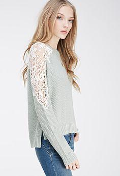 Crochet-Paneled Sweater | FOREVER21 - 2000135753