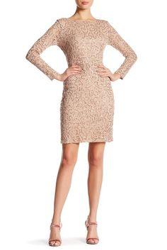 Marina Long Sleeve Lace Sequin Dress at HauteLook - Womens . Nye Dress, Sequin Dress, Party Dress, Dusty Pink Bridesmaid Dresses, Black Wedding Dresses, New Years Eve Dresses, Floor Length Dresses, Nordstrom Dresses, Sheath Dress