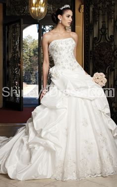 $268.19 Gorgeous Strapless Taffeta Ball Gown With Appliques