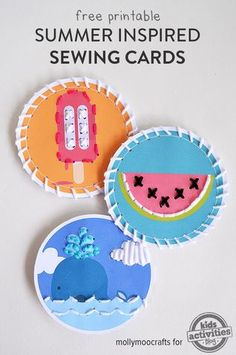 Fine Motor Freebie of the Week: Printable Summer Inspired Sewing Cards - pinned by @PediaStaff – Please Visit  ht.ly/63sNt for all our pediatric therapy pins