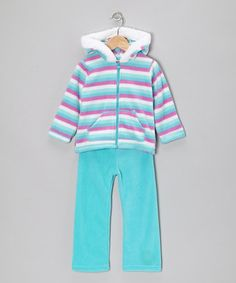 Take a look at this Aqua & Turquoise Zip-Up Hoodie & Pants - Infant, Toddler & Girls by Young Hearts on #zulily today!