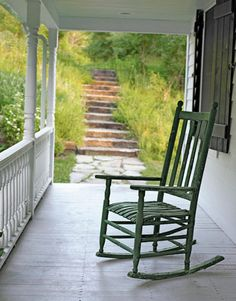 weathered rocker and stone steps