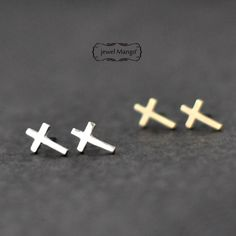 Cross Stud Earrings -gold Or Silver on Luulla