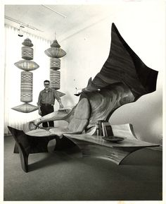 Jack R. Hopkins with Womb Room sculptural seating environment, ca. 1970, wood, leather, metal, 6 x 15 x 6 ft.