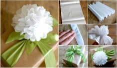DIY Easy Tissue Paper Flower Gift Topper tutorial - Step by step - Step by step Ideas Flower Crafts, Diy Flowers, Fabric Flowers, Quilling Paper Craft, Tissue Paper Flowers, Paper Gifts, Diy Paper, Christmas Gift Wrapping, Christmas Gifts