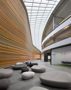 Pebble cushions - bp's green-roofed refinery office - livingstones