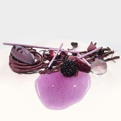 Blackcurrant, purple sweet potato, and lavender by @obamatin #TheArtOfPlating