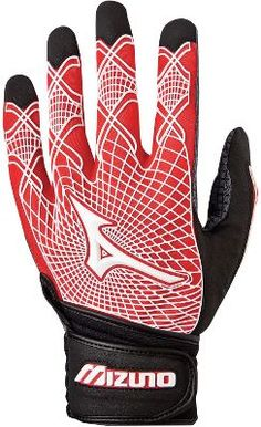Mizuno Adult Techfire G3 Black/Red Batting Gloves - Adult Baseball Batting  Gloves