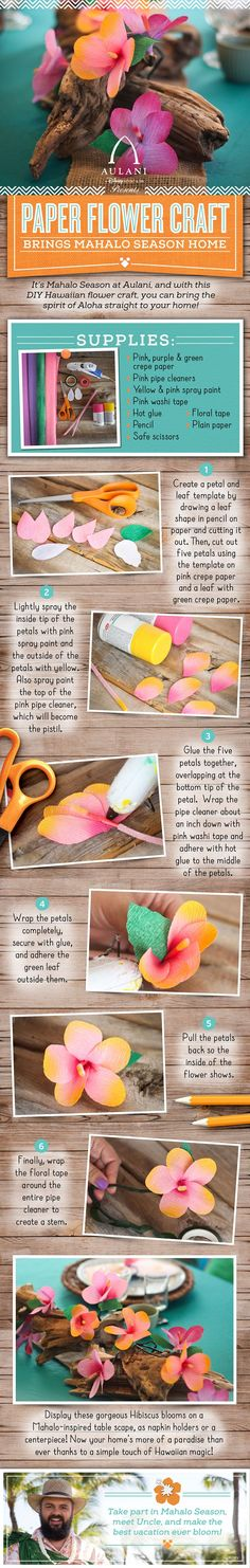 Let the spirit of aloha inspire you with this DIY Hawaiian flower craft from Aulani, a Disney Resort & Spa in Hawaii!