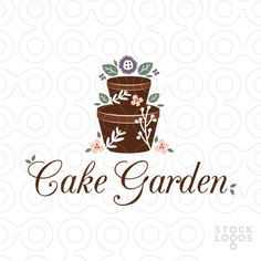 Logo For Sale: Beautiful elegant logo design. Terracotta clay pots create the cake tiers and beautiful simple garden flowers are used to decorate the cake.