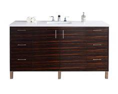 """60"""" Metropolitan Ebony Single Sink Bathroom Vanity"""
