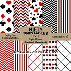 Playing Cards Digital Paper, Seamless Patterns in Red, Black and White With Chevron, Stripes, Lattice. Instant Download, Commercial Use.