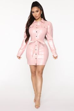 Available In Black And Pink. White Dresses For Women, Pink Mini Dresses, Pink Dress, Dress Black, Thick Girls Outfits, Girl Outfits, Black Lace Up Boots, Leather Mini Dress, Collar Dress