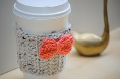 crochet coffee cozy with bow - cute!