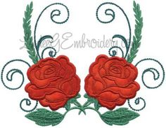 Rose 5 from Elegant Roses Applique.   #machineembroidery #applique #rose #floral