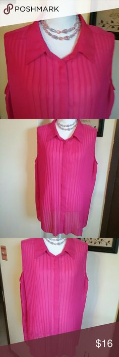 Hot Pink Pleated Lane Bryant Size 24 Blouse This is a size 24 Lane Bryant hot pink pleated sleeveless blouse. It is in beautiful preowned condition. It is 100% polyester. Lane Bryant Tops Blouses