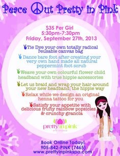 September event at Pretty in Pink Spa. Book early spaces are limited and fill up fast!