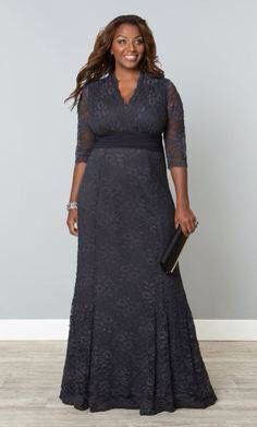 09fbeab3c83ea Curvalicious Clothes    Plus Size Dresses    Screen Siren Lace Gown -  Twilight Grey
