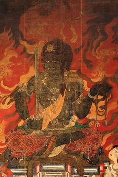 "GREAT DARK ONES, BLACK WARRIORS Acala [Skr.: Ācala, Achala अचल; Ja: Fudō-myōō (不動明王) literally ""immovable"" one.] is one of the fierce, angry-faced guardian deities of Vajrayana Buddhism and is particularly revered by Buddhists in Japan. He is classed among the vīdyārāja [Ja: myōō (""wisdom king"")]. amyipaguana: Fudo / Acala Vidyaraja"