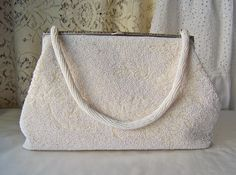 Vintage White Beaded Purse by cynthiasattic on Etsy, $59.00