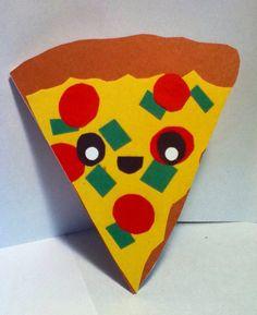 Handmade Kawaii Pizza Card Cardstock by justcreativecards on Etsy, $2.50