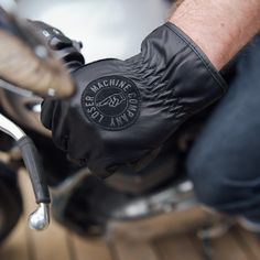 Loser Machine Death Grip glove - an easy on / easy off minimalist riding glove, also available in brown. Summer Motorcycle Gloves, Motorcycle Riding Gear, Custom Patches, Mens Gloves, Leather Men, Black And Brown, Stylish, Casual, Manly Things