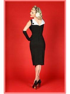 Bettie Page Black 50's Style Jazmin Wiggle Dress.