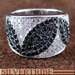 $113 Sterling #Silver White And Black Cubic Zirconia #Ring