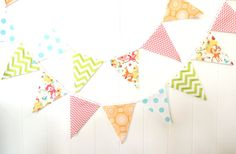 9 Feet Banner, 21 Flag Bunting, Spring Bunny and Deer, Pink, Orange, Aqua, Lime, Chevron, Easter Bunting, Party Garland, Photo Prop