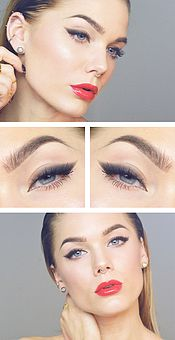 Linda Hallberg - winged eyeliner and glossy red lips