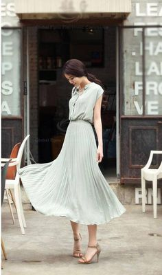 Cheap Wholesale Fashion and Elegant Style Ruffles Embellished Scoop Neck and Sleeveless Design Women's Pleated Mid-Calf Dress (BROWN,FREE SIZE) At Price 15.24 - DressLily.com