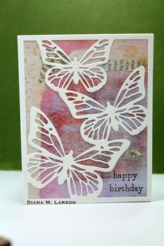 DL.ART : Happy Birthday. Papertrey (PTI) Butterfly cover plate