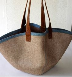 felt and leather handbag