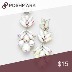 """Silver AB chandelier statement earrings crystal Awesome! Such fun! Please let men know if you have questions! 1""""w, 2.75""""L. Post back Jewelry Earrings"""