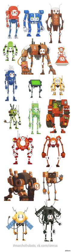 Марш роботов Вызов - в течении марта месяца рисовать каждый день по одному роботу. И вот что у меня накопилось за пол месяца.  marchofrobots, Робот, Картинки, длиннопост