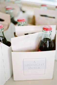 Mini coke bottle and midnight snack to take home - wedding favor @ Wedding Day Pins : You're Source for Wedding Pins!Wedding Day Pins : You're Source for Wedding Pins! Mod Wedding, Dream Wedding, Wedding Day, Wedding Reception, Wedding Shoes, Perfect Wedding, Trendy Wedding, Night Before Wedding, Wedding Vendors