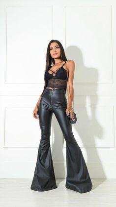 Wide Leg Jeans, Flare Jeans, Bell Bottoms, Ruffles, Bell Sleeves, Leather Pants, Women Wear, Women's Fashion, Skinny